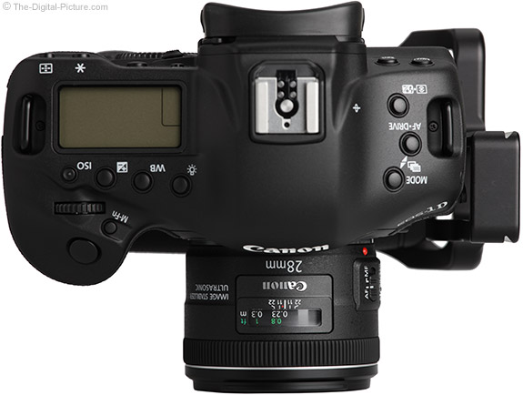 Canon EF 28mm f/2.8 IS USM Lens on Canon EOS 1D X - Top