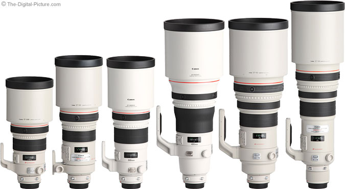 Canon EF 300mm f/2.8L IS II USM Lens Compared to other Canon Super Telephoto Lenses with Hoods