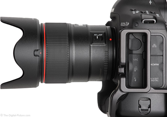 Canon EF 35mm f/1.4L II USM Lens Side View with Hood