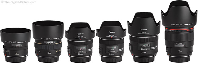 Canon EF 35mm f/2 IS USM Lens Compared to Similar Lenses with Hoods