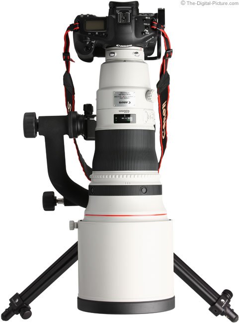 Canon EF 400mm f/2.8 L IS II USM Lens Mounted Vertically on Canon EOS 1Ds Mark III DSLR Camera