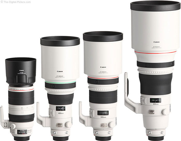 Canon EF 400mm f/4 DO IS II USM Lens Compared to Similar Lenses with Hoods