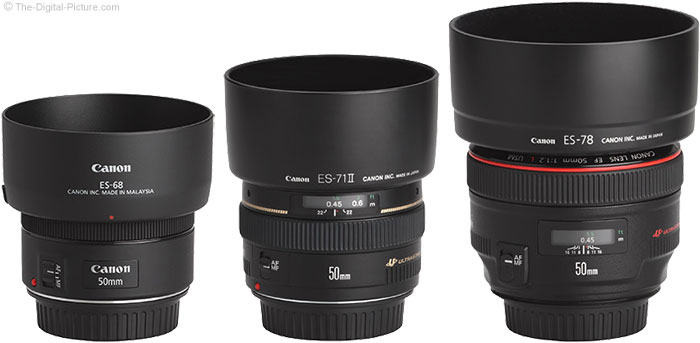 Canon EF 50mm f/1.8 STM Lens Compared to Similar Lenses with Hoods