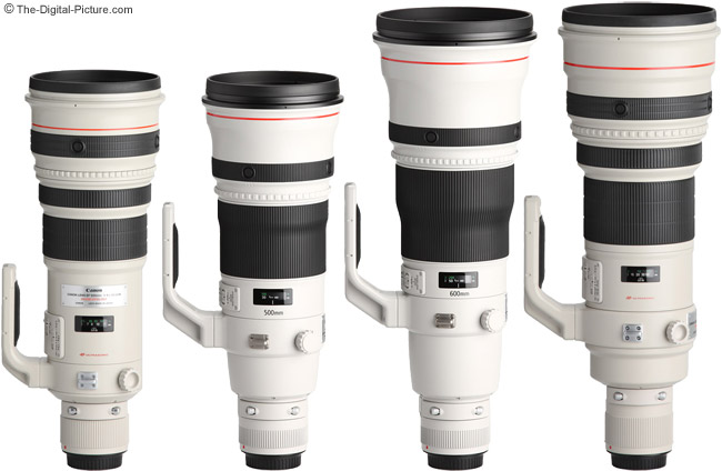 Canon EF 500mm f/4L IS II USM Lens Compared to other Canon Super Telephoto Lenses