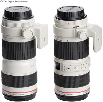 Canon EF 70 200mm f/4 L Lenses with Optional Tripod Mount Rings Attached