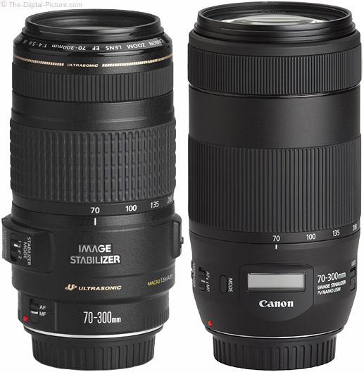 Canon EF 70-300mm f/4-5.6 IS II USM Lens Compared to Version I Lens
