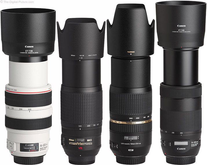 Canon EF 70-300mm f/4-5.6 IS II USM Lens Compared to Similar Lenses with Hoods