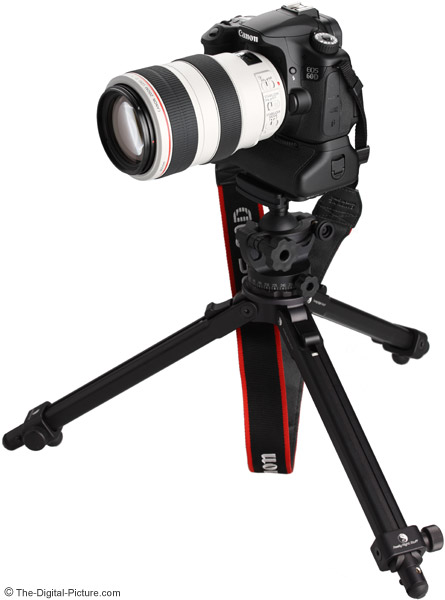 Canon EF 70-300mm f/4-5.6 L IS USM Lens on Camera and Tripod