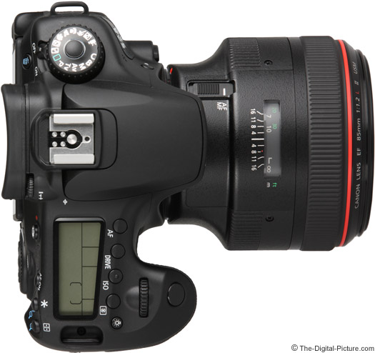 Canon EF 85mm f/1.2 L II USM Lens on EOS 60D - Top View