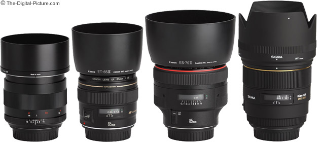 Zeiss 85mm f/1.4 ZE Planar T* Lens Compared to Similar 85mm Lenses with Hoods
