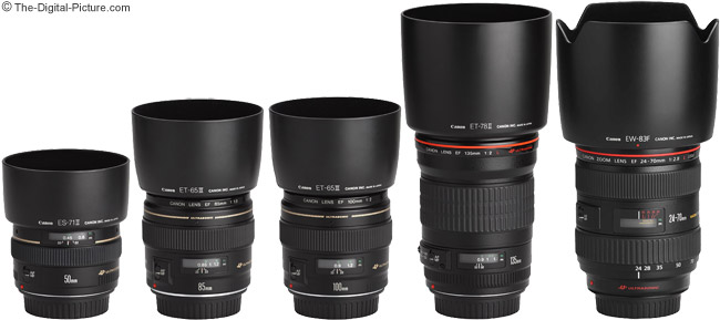 Canon EF 135mm f/2 L USM Lens Comparison with Hoods