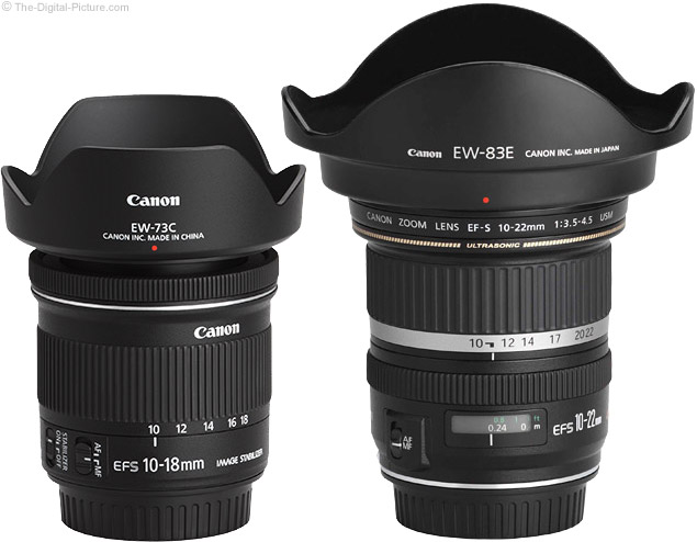 Canon Ultra Wide Angle Lens Comparison with Hoods