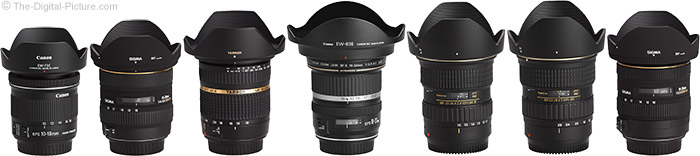Canon EF-S 10-18mm f/4.5-5.6 IS STM Lens Compared to Similar Lenses with Hoods