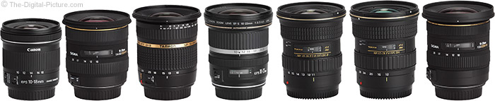 Canon EF-S 10-18mm f/4.5-5.6 IS STM Lens Compared to Similar Lenses
