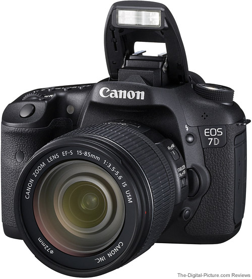 7D with Canon EF-S 15-85mm f/3.5-5.6 IS USM Lens Mounted - Front with Flash Up