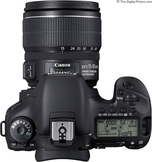 Canon EF-S 15-85mm f/3.5-5.6 IS USM Lens on EOS 7D - Top View