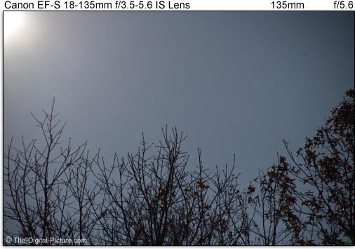 Canon EF-S 15-85mm f/3.5-5.6 IS USM Lens Flare Compared to Similar Lenses at 135mm