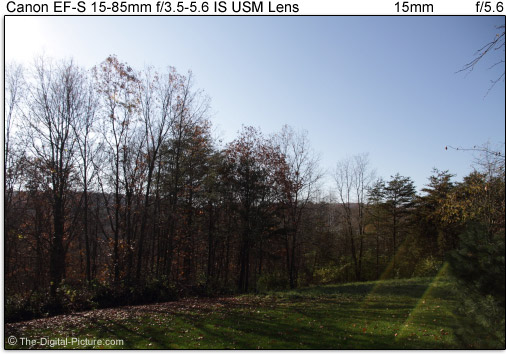 Canon EF-S 15-85mm f/3.5-5.6 IS USM Lens Flare Compared to Similar Lenses at 15-18mm