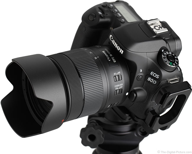 Canon EF-S 18-135mm IS USM Lens Angle View with Hood