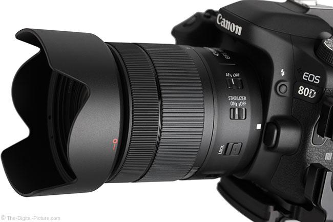 Canon EF-S 18-135mm IS USM Lens Side Angle View with Hood