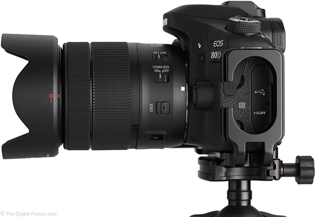 Canon EF-S 18-135mm IS USM Lens Side View with Hood