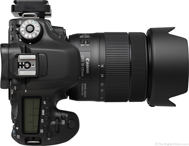 Canon EF-S 18-135mm IS USM Lens Top View with Hood