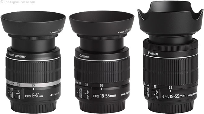 Comparison of Canon EF-S 18-55mm IS Lenses with Hoods
