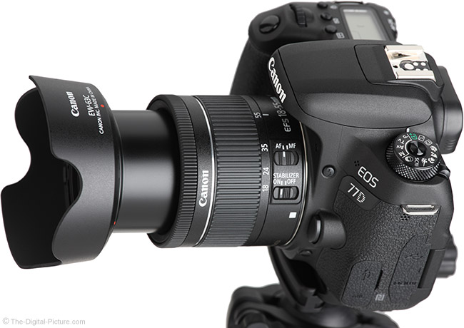 Canon EF-S 18-55mm f/4-5.6 IS STM Lens Angle Extended with Hood