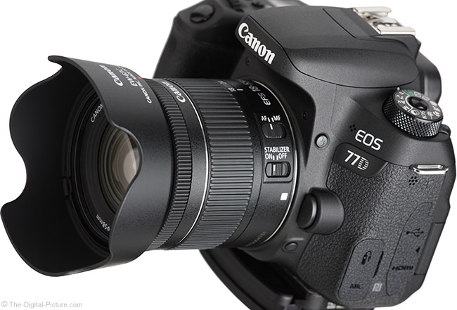 Canon EF-S 18-55mm f/4-5.6 IS STM Lens Angle View with Hood
