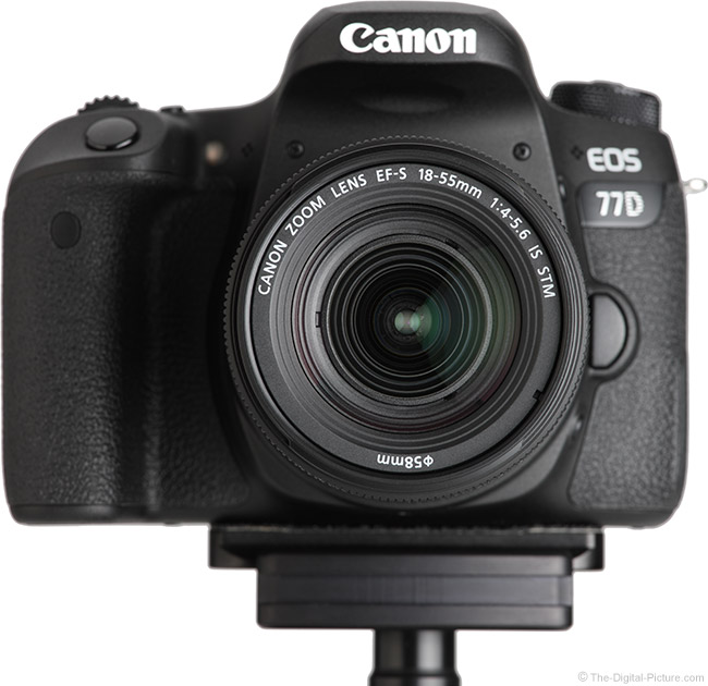 Canon EF-S 18-55mm f/4-5.6 IS STM Lens Front View on Camera