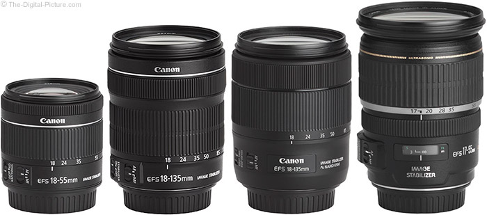 Canon EF-S 18-55mm f/4-5.6 IS STM Lens Compared to Similar Lenses