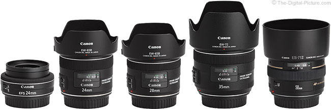 Canon EF-S 24mm f/2.8 STM Lens Compared to Similar Lenses with Hoods