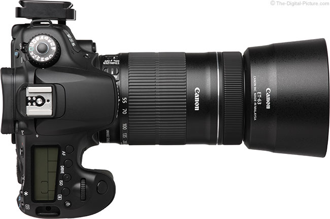 Canon EF-S 55-250mm IS STM Lens Top View with Hood