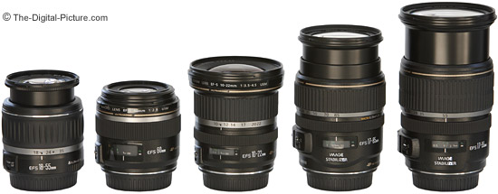 Canon EF-S Lens Size Comparison - Lenses Fully Extended
