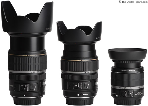 Canon EF-S Zoom Lens Comparison - Fully Extended With Hoods