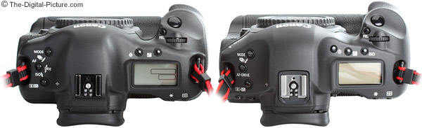 Canon EOS 1D Mark III and 1Ds Mark II DSLR Camera Comparison - Top View