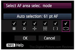 Canon EOS 5D Mark III AF Area Selection