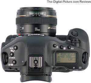 Canon EF 50mm f/1.4 USM Lens mounted on a 1Ds Mark III - Top View