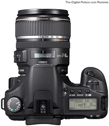 Canon EOS 30D Top View with an EF-S 17-85mm f/4-5.6 IS USM Lens mounted