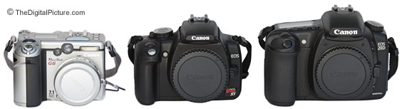 Canon EOS Digital Rebel XT / 350D, 20D and PowerShot G6 Size Comparison