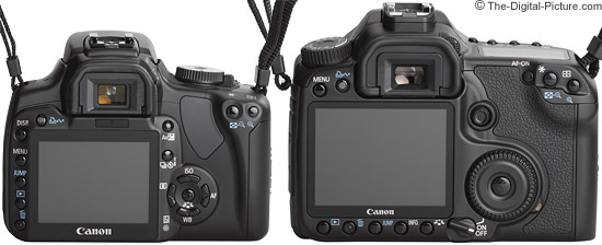 Canon 40D compared to a Rebel XTi/400D - Back View