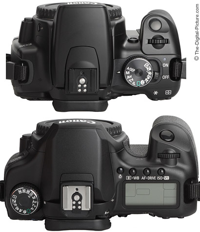 40D compared to a Canon Rebel XTi/400D - Top View