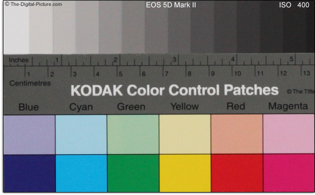 Canon EOS 5D Mark II ISO Noise Comparison - Color Blocks
