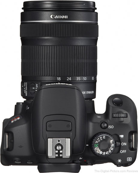 T4i and Canon EF-S 18-135mm f/3.5-5.6 IS STM Lens compared to Canon EF-S 18-55mm f/3.5-5.6 IS II Lens - Top View