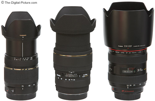 Canon, Sigma and Tamron Normal Zoom Lenses Size Comparison - Extended with Lens Hoods