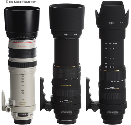 Canon and Sigma Telephoto Super Zoom Lenses Extended with Hoods