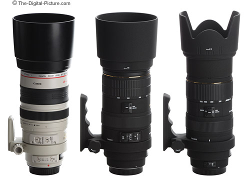 Canon and Sigma Telephoto Super Zoom Lenses with Hoods