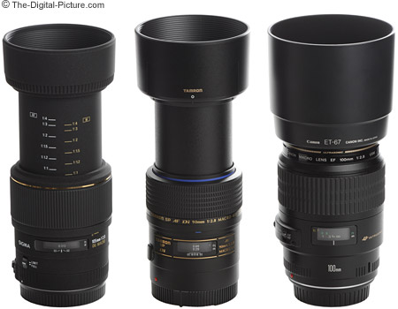 Canon, Sigma and Tamron Macro Lens Size Comparison With Hoods - Extended