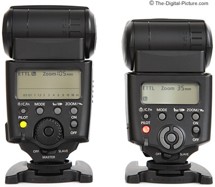 Canon Speedlite 430EX and 580EX Comparison - Back View
