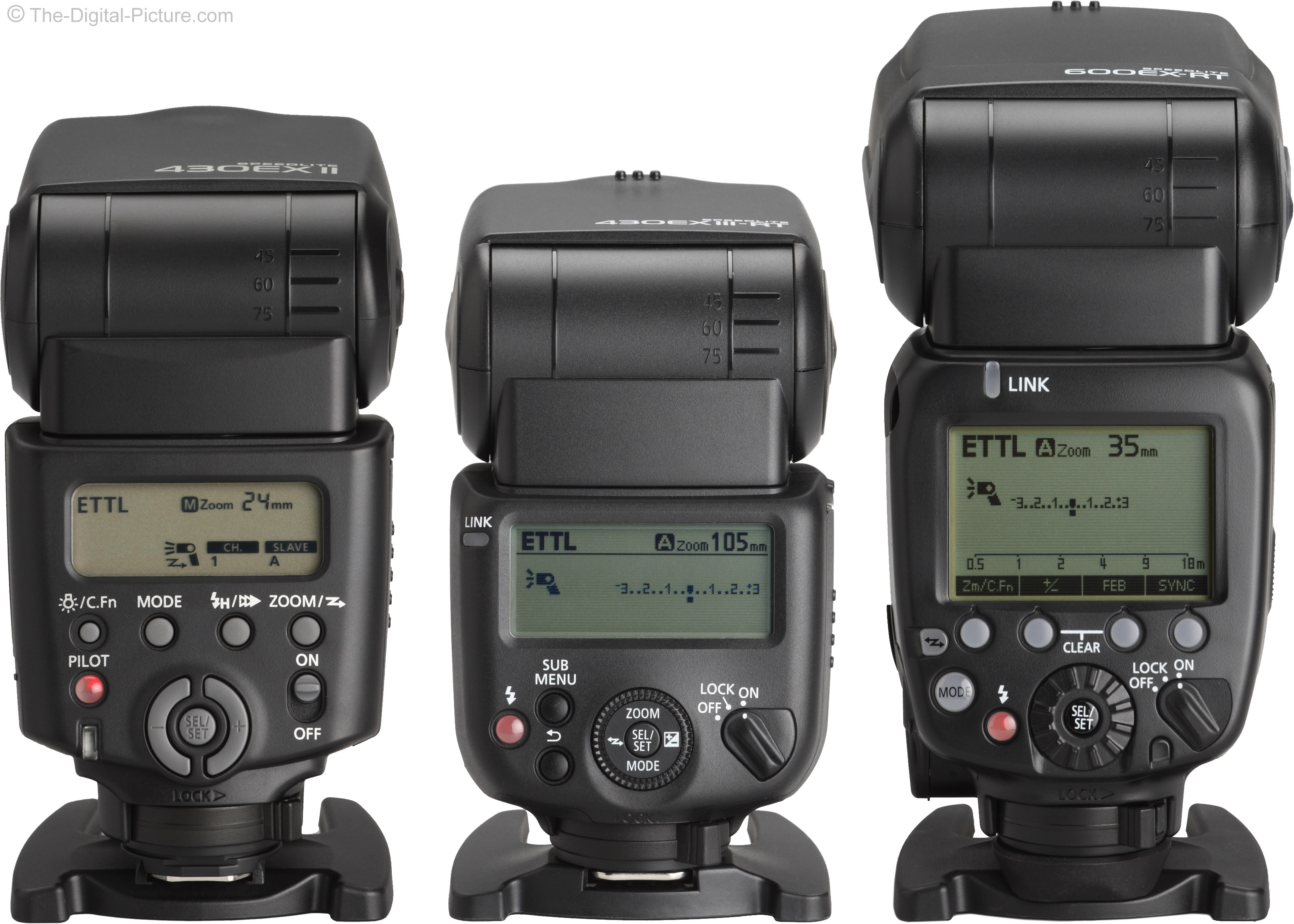 Canon Speedlite 430EX II, 430EX III-RT and 600EX RT Flash Comparison